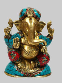 Ganesh Sitting w/ Golden Stone Work