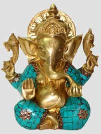 GANESH CARVED W/ BIG EARS & BLUE STONES