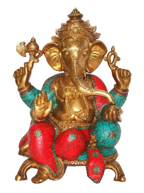 Ganesh Sitting 2 Legs Base & Stone Work