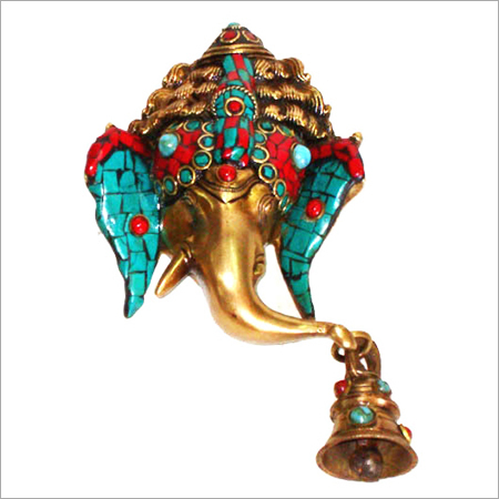 Ganesh Mask Hanging W/ Bell & Stone Work