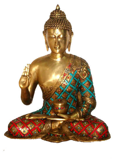 BUDDHA SITTING BLESSING HAND W/OUT BASE