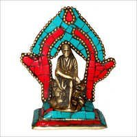 Sai Baba Sitting on Throne W/ Stones