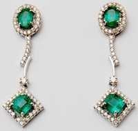 emerald drop earring for girls, diamond studded green stone emerald earring design