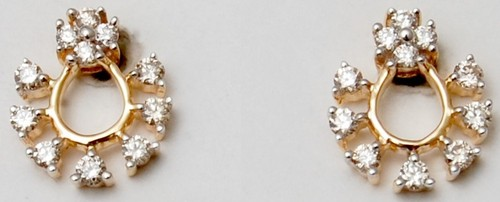 14k solid gold diamond earring, indian real jewelry supplier and manufacturer