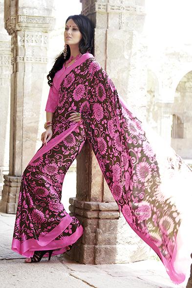 Maroon Floral Print Sarees