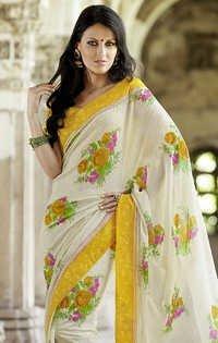 White Floral Print Sarees