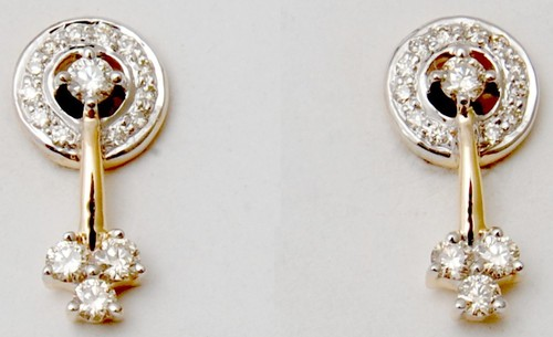 rhodium plated gold diamond earring, small daily office wear earring in gold