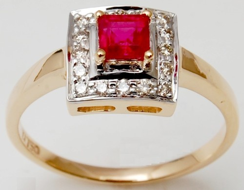 womens gold ring for office wear, octagon cut ruby and micropave diamonds gold ring