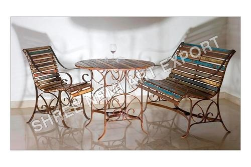 Reclaimed Wooden Table with Chair