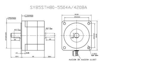 46 Kgcm motor SY85STH80 SOYO