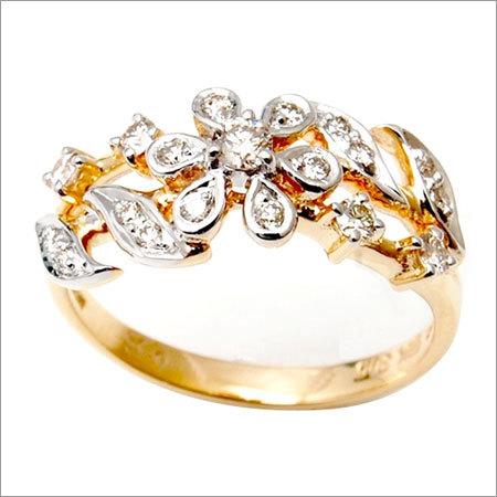Flower design diamond girls ring