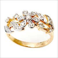 Flower design diamond girls ring