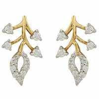 Elegant Leaf Shape Diamond Earring