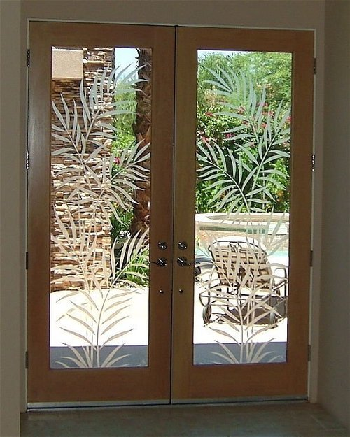 Leaf Style Decorative Glass Doors
