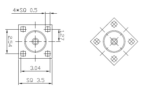 MMCX female stright PCB mount connector