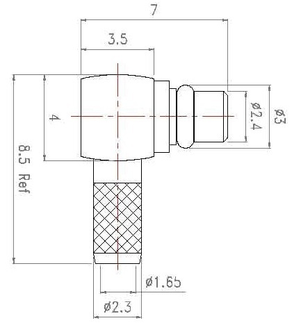 MMCX male right angle connector for RG 316 cable