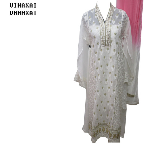 White Georgette Long