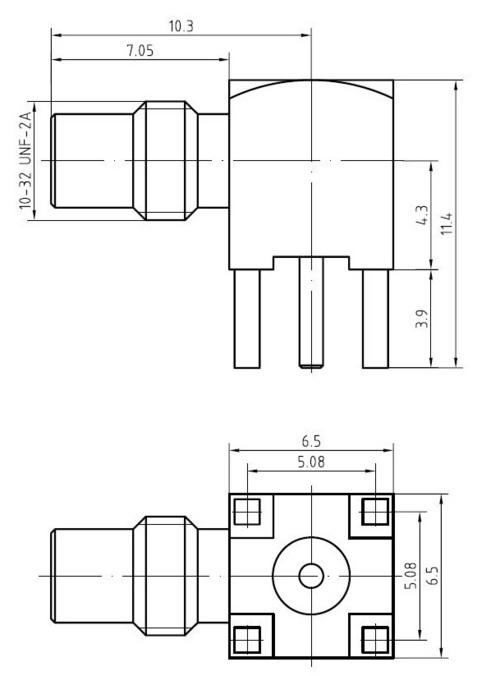 SMC male right angle PCB mount connector