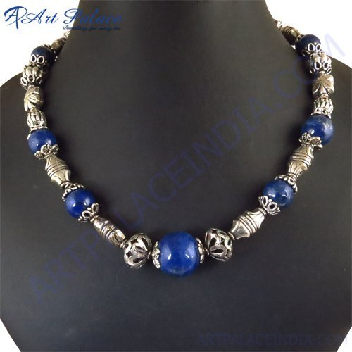 New Lapiz Luzali Beads Style Necklace, German Silver Jewelry