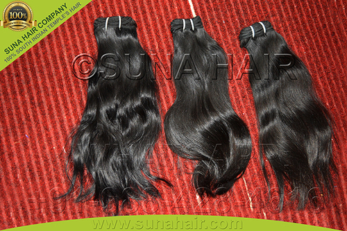indian natural machine weft human hair extension