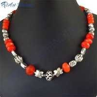 Hottest New Red Onyx Necklace Jewelry, German Silver GemStone