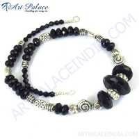 Fabulous Black Onyx Necklace, German Silver Gemstone Jewelry