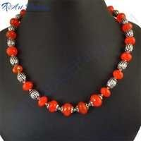 Exclusive Bright Red Onyx Necklace, German Silver Gemstone Jewelry