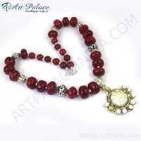 Fantastic Fashionable Gemstone Necklace, German Silver GemStone Jewelry