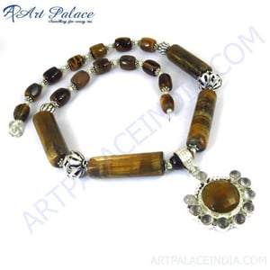 Awesome & Fabulous Necklace With Pendant Jewelry, German Silver GemStone
