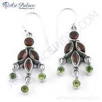 Exclusive Multi Gemstone Silver Earrings,
