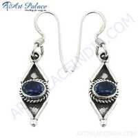 Indian Silver Ethnic Designer Iolite Gemstone Silver Earrings