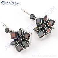 Unique Beautiful Garnet Gemstone Silver Earrings