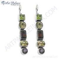 New Arrival Amethyst & Citrine & Garnet & Peridot Gemstone Silver Earrings