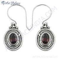 Indian Ethnic Designer Garnet Gemstone Silver Earrings
