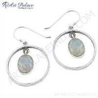 Fashion Accessories Rainbow Moonstone Gemstone Silver Hook Earrings