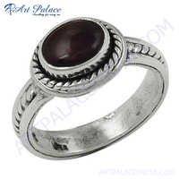 Feminine Unique Designer Garnet Gemstone Silver Ring