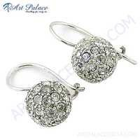 Rocking Style Cubic Zirconia Gemstone Silver Earrings
