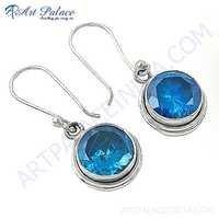 Fashion Accessories Blue Cubic Zirconia Gemstone Silver Hook Earrings