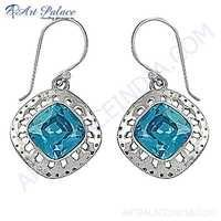 Vintage Inspired Blue Cubic Zirconia Gemstone Silver Earrings