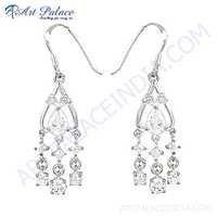 Handmade Cubic Zirconia Gemstone Silver Earrings
