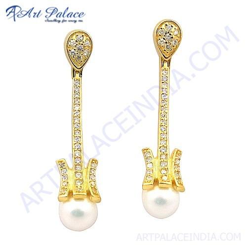 Feminine Unique Design Cubic Zirconia & Pearl Gemstone Silver Gold Plated Earrings