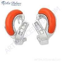 Latest Fashionable Coral & Cubic Zirconia Gemstone Silver Earrings