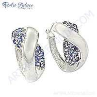 Unique Style Blue Cubic Zirconia Gemstone Silver Earrings