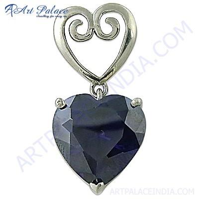 Attractive Heart Style Amethyst Zirconia Gemstone Silver Pendant