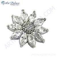 Beautiful Flower Style Cubic Zirconia Gemstone Silver Pendant