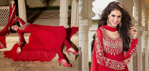 Designer Red Anarkali Salwar Kameez