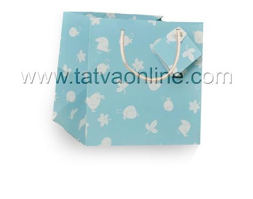 Baby Blue Printed Paper Bag