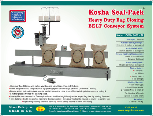 Heavy Duty Bag Closing Conveyour System