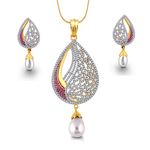 Designer and Trendy Diamond Pendent Set