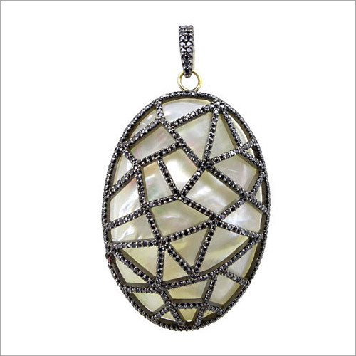 Pearl Gemstone Pave Diamond Pendant